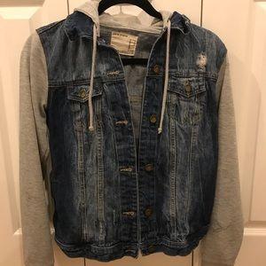 Forever 21 Half Jean Half Sweatshirt Jacket